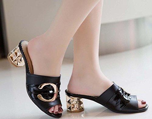 NobS Chaussures Femmes Chaussons Décoratifs en Métal Poitrine Bouche Grande Taille Moyen Talon Samdals Black