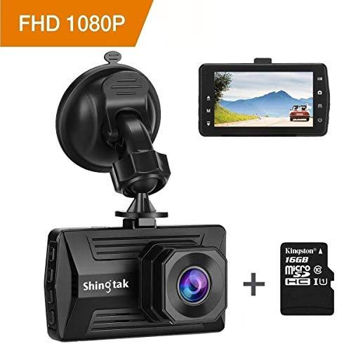 Dashcam Autokamera Shingtak Full HD 1080P Auto Dash Kamera mit 3 Zoll IPS Bildschirm, 170° Weitwinkel 6G Objektiv, G-Sensor, Loop-Aufnahme, HDR, Parkplatzüberwachung, Nachtsicht und Bewegungserkennung (Kingston 16GB SD Karte Enthalten)