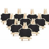 Mini pizarra de madera Gespout, decorativa, rectangular, pizarra de mensaje para fiestas multicolores, mesas de cocina, Navidad, bodas, con caballete, 10unidades, Negro , 7x9x1.2cm