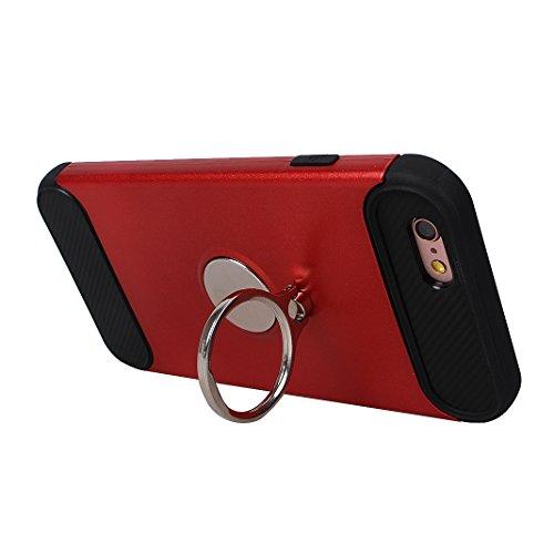 Armatura Cover per iPhone 6 / 6S, Asnlove 2 in 1 Caso Antiurto Protettiva TPU Silicone Custodia con Staffa Anello Cassa può Essere Assorbito dal Magnete Case Supporto Girevole, Oro Rosso