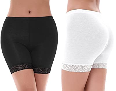 Yulee Womens 2 Pack Under Skirt Lace Slip Shorts Thin Stretch Short Leggings S-XXL
