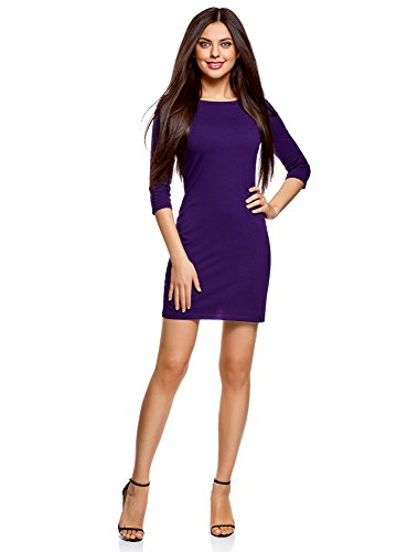 oodji Ultra Damen Baumwoll-Kleid Basic, Violett, DE 40 / EU 42 / L