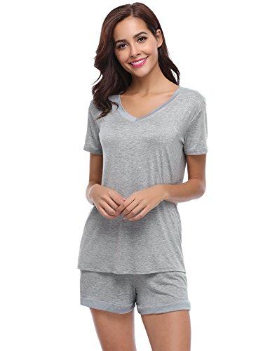 Aiboria Ensemble de Pyjama Femme Manches Courtes Pyjama T-Shirt et Short en Coton pour Femme