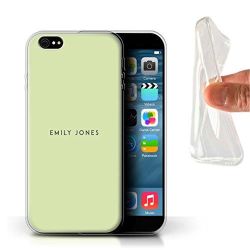 Personalisiert Individuell Pastell Stempel Gel/TPU Hülle für Apple iPhone 8 / Elfenbein Design / Initiale/Name/Text Schutzhülle/Case/Etui Grünes