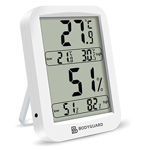 Indoor Thermo Hygrometer, Bodyguard Digitales Thermometer Temperatur Luftfeuchtigkeit Monitor mit Magneten und Klappständer für Zuhause, Büro, etc. (Weiß)