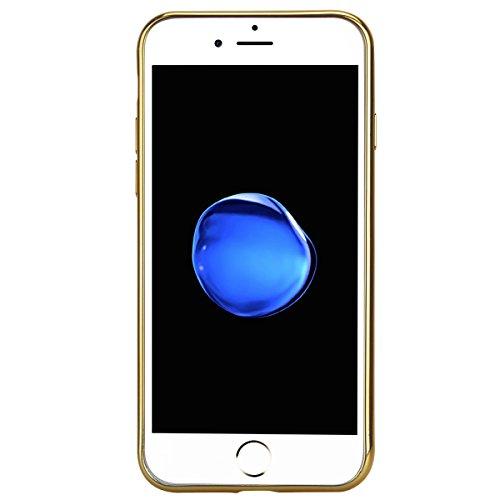 iPhone 6S Plus Coque Etui, HB-Int 3 en 1 Coque iPhone 6 Plus / iPhone 6S Plus Soft Gel Silicone TPU Coque Housse avec Placcatura Cover Geometric Composition Housse Téléphone Portable Étui Ultra Mince  Bleu