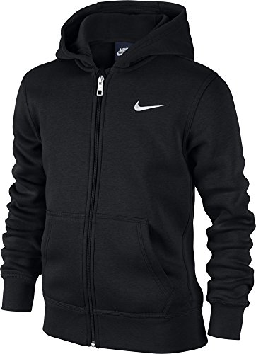 Nike - Young Athletes 76 - Brushed Sweat-shirt à capuche zippé - Enfant - (Noir/Blanc) - Taille: S (Taille Fabricant: 8-10 Ans/128-137)
