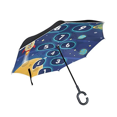 Ombrello da esterno Rocket Space Cosmic Planet Hopscotch antivento per ombrello auto inversa Uccelli con manico a forma di C Ombrello