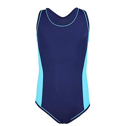 Aquarti Mädchen Badeanzug mit Racerback Sportlich, Farbe: Dunkelblau/Blau, Größe: 134