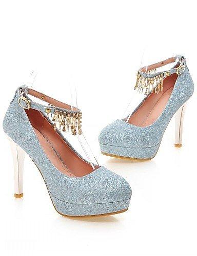 WSS 2016 Chaussures Femme-Bureau & Travail / Habillé / Décontracté-Bleu / Violet / Argent / Or-Talon Aiguille-Talons-Talons-Similicuir silver-us6.5-7 / eu37 / uk4.5-5 / cn37