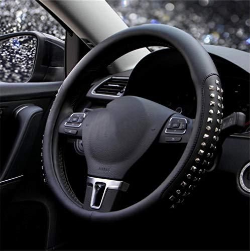 ELEGENCE-Z Couvre Volant Couvre,Couvre-Volant de Voiture décoratif Confortable en Cuir de Rivet antidérapant - Noir -38cm
