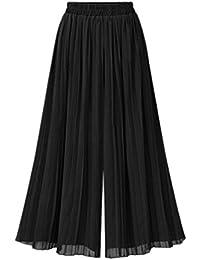 db7cee7ee3d5 Screenes Eté Elégante Femme Plier Pantalon Uni Manche Vintage Taille  Élastique Mousseline Pantalons 7 8