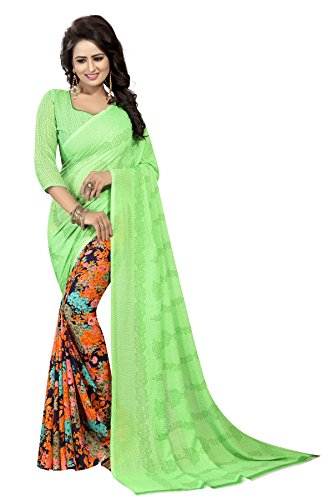 Kanchan Women's Soft Georgette Saree (Pista)