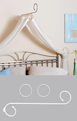 chin Himmelbett Betthimmel Himmelhalter Himmelstange Romantik Metall Weiß Länge 80 cm (Weiße Gardinenstange Kinderzimmer)