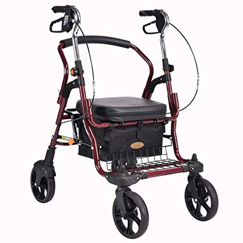 Drive Medical Wheel Gehhilfe Höhenverstellbar, Aufrechte Haltung Rolling Walker Großer Raum, Superleichtes Aluminium, Mobilität Tragbarer Rollator Walker Mit 4 Rädern Für Senioren,Red -