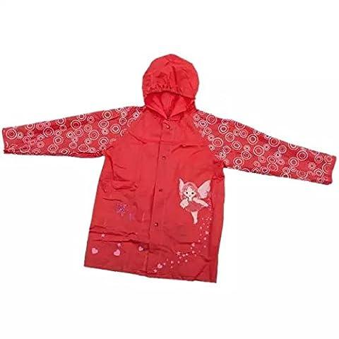Ezyoutdoor Outwear Rain Coat Cartoon Hooded Waterproof Raincoat Unisex Rain Poncho for Kids Children Travel Camping Walking (red)