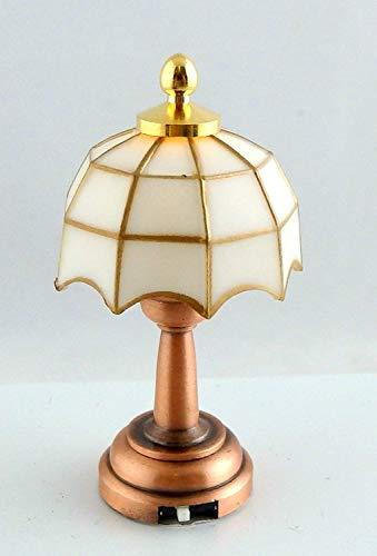 Melody Jane Puppenhaus Miniatur 1:12 LED Batterie Warmes Weiß Tiffany Lampe Kupfer Basis -
