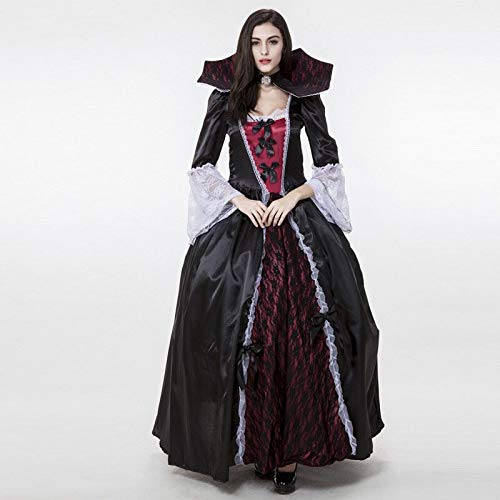 Vampir Kostüm Versailles Erwachsene Von Für - ZYJT Halloween Dame Lady Halloween Scary Kostüm Dark Black Ganzkörperansicht Ballkleid Spitzenkleid Kostüm Party Dekoration (Color : Black, Size : One Size)