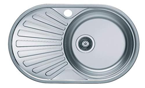 VBChome Einbauspüle 74x44 aus hochwertigem Edelstahl rundes Spülbecken mit Ablagefläche links rechts klassische Küchenspüle modernen Design Seidenglanz (links)