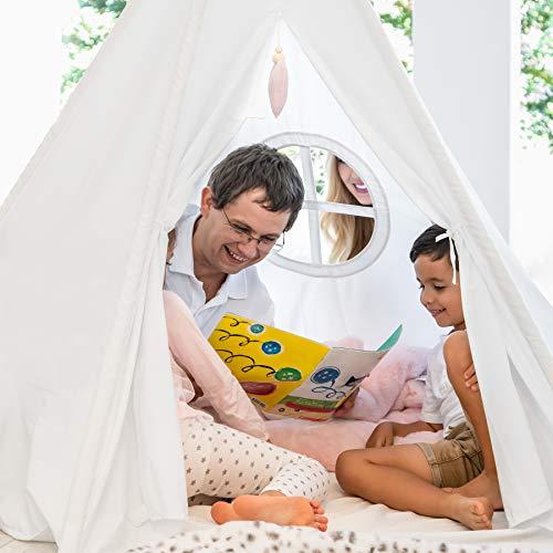 Hippococo Tente Tipi pour Enfants: Grande Maison de Jeu Pliable à 5 poteaux Solides intérieure extérieure, Toile Blanche, Tapis de Sol, Accessoire cœur Rose, eBook de Bricolage Amusant Inclus (Rose)