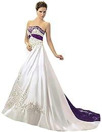 Vantexi Damen Trägerloses Wulstige Stickerei Hochzeitskleid Brautkleider