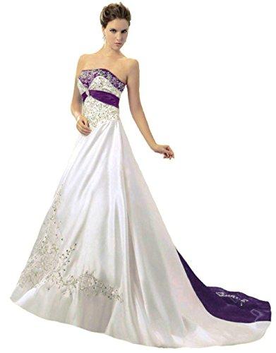 Vantexi Damen Trägerloses Wulstige Stickerei Hochzeitskleid Brautkleider Elfenbein Lila 42