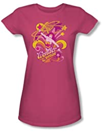Wonder Woman Save Me Juniors S/S T-shirt in Hot Pink by DC Comics