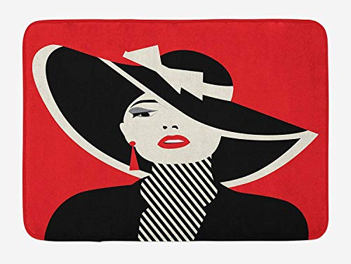 NasNew Doormats Girls Bath Mat, French Style Icon in Shabby Chic Classical Vintage Hat and Striped Coat Design Print, Plush Bathroom Decor Mat with Non Slip Backing, 23.6 W X 15.7 W Inches, Red Black Red French Terry