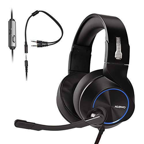 PS4 Gaming Auriculares para Juegos de PC con Micrófono, NUBWO Auriculares Estéreo de 3,5 mm con Control de Volumen de Micrófono para Xbox One, Nuevo Ordenador Portátil Mac PlayStation 4