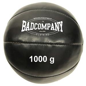 Bad Company Professioneller Medizinball I Vollball aus Kunstleder – Schwarz
