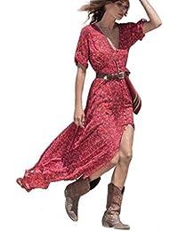 Abbigliamento da Donna Estiva Bohemien Abito da Festa Floreale in Chiffon  Abito Lungo da Spiaggia Abiti Donna Abiti… 10b45f2e45b