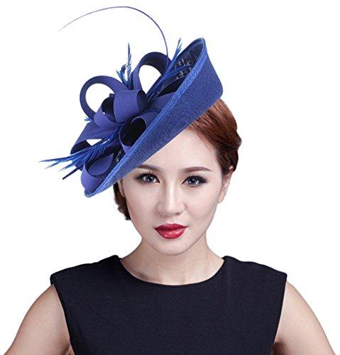Eozy Damen Mini Hut Fascinator Hut Haarschmuck Tirolerhut Royal Blau (Mini-hüte Für Frauen)