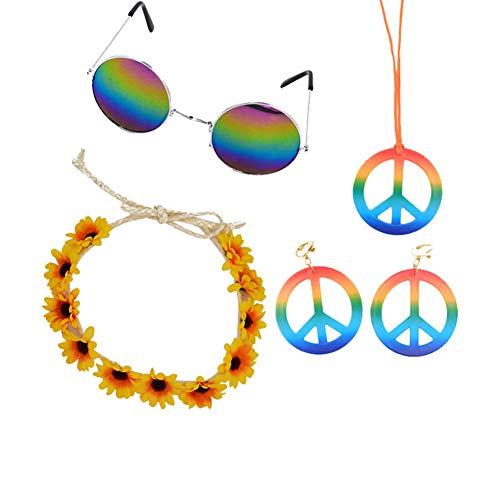 Kostüm Klassische Mädchen - Nicetruc Retro Hippie-Kostüm Zubehör Klassische Bunte Hippie Brille Chrysanthemum Stirnband Friedenshalsketten-Ohr Karneval-Kostüm-Zubehör für Frauen Mädchen 1Set