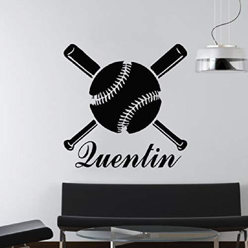 Ajcwhml Wandaufkleber personalisierter individueller Name Baseballschläger Wandaufkleber Schlafzimmer Junge Baby Zimmer Innenarchitektur abnehmbare Wanddekoration 42X50cm