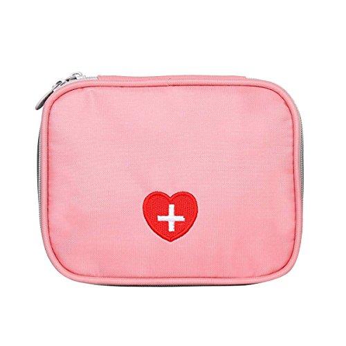 Eshow Oxford Gewebe Medizintasche für Notfälle Betreuertasche Reiseapotheke Tasche Erste Hilfe Set Medizinkoffer Sanitätstasche Rosa 13 cm (W) x 4 cm (H) x 10 cm (D)