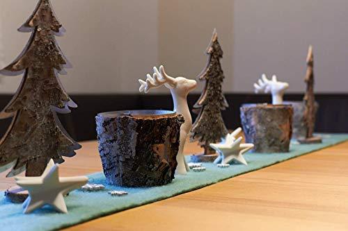 Dekoset - Winter Tischdeko mit Hirschen im Birken Look -