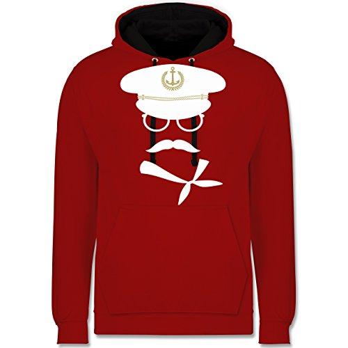 Schiffe - Matrose weiß/gold - Kontrast Hoodie Rot/Schwarz