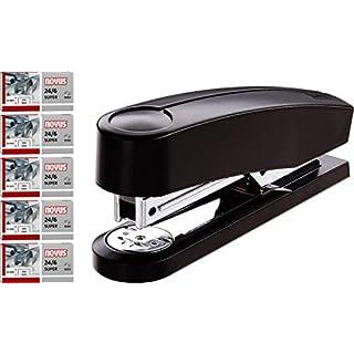 Novus B 2 Heftgerät (25 Blatt, Metall-Hefter mit Kunststoffoberteil, inkl. 5200 Heftklammern) schwarz Promo Set