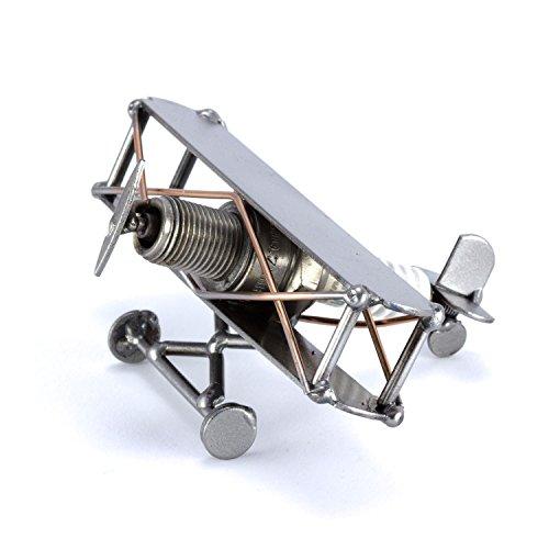 Steelman24 I Figurine en métal Avion Mini Biplan I Made in Germany I Idées Cadeaux I Sculpture d'Acier I Hommes de métal