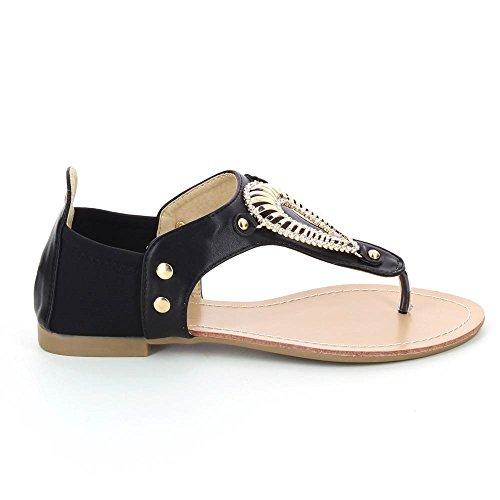Sandali con decorazioni piatte, metallizzati Nero (nero)