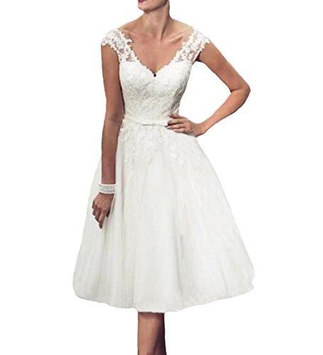 O.D.W Frauen Boho Kurze Spitze Hochzeitskleider Appliques Vintage Brautkleider(Weisse 2, 42)