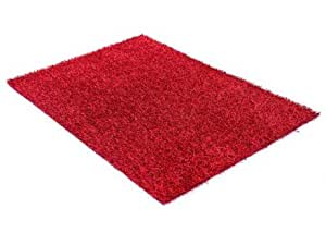 Tapis shaggy RUBY bicolore rouge - polyester - 140 x 200 cm