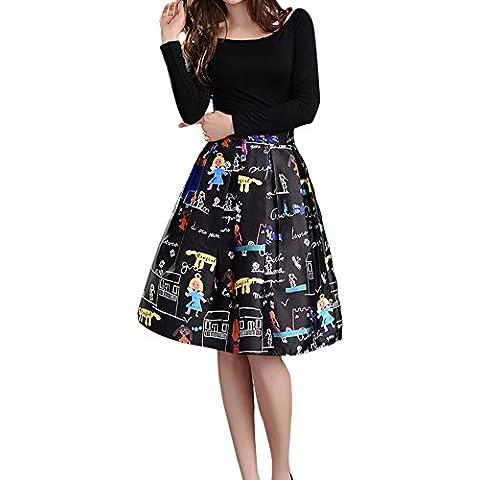 Mujer Faldas Tubo Cintura Alta Evasé Plisada Midi Falda Estampado SHYH XL