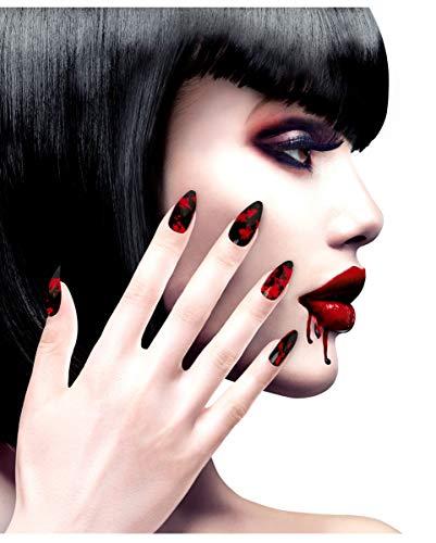 rze Fingernägel mit roten Blutspritzern - Selbstklebend - Kostümzubehör ()
