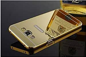SAMSUNG GALAXY J7-Gold Color-Premium Luxury Metal Bumper Acrylic Mirror Back Cover Case by Wellcare