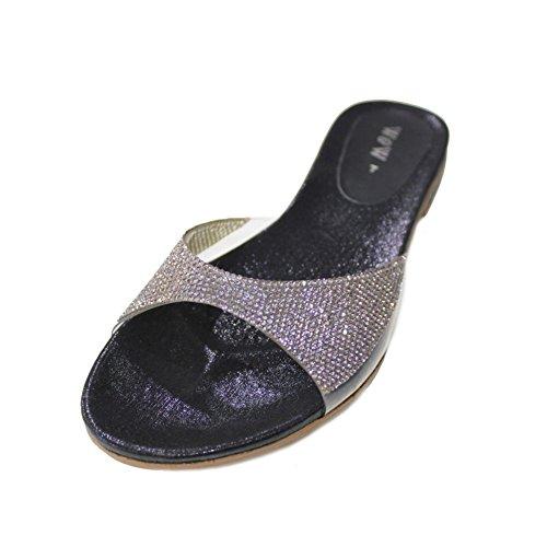 W & W femmes Mesdames Soirée Fashion Sandales antidérapant sur le confort léger Diamante chaussures plat Taille (Wish) Noir