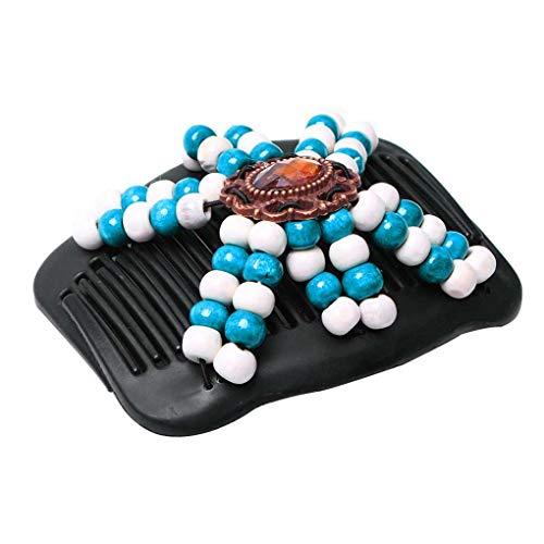 Lidahaotin Femmes Diapo Ronde Perles Stretchy Barrette géométrique Bois Perles de Cristal en Plastique élastique Hairpin Bleu