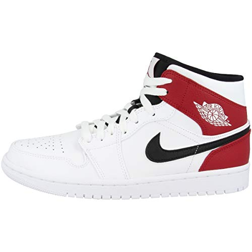 Nike Herren AIR Jordan 1 MID Hohe Sneaker, Mehrfarbig (White/Black-Gym Red 116), 49.5 EU -