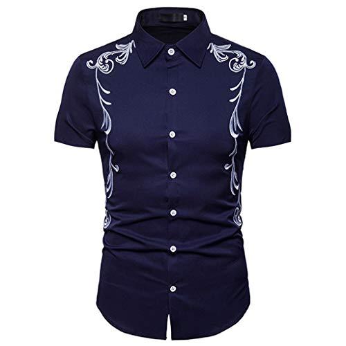 Herren Hemd Slim Fit Kurzarm Männer Hemden Hipster Casual Freizeithemd Button-Down-Shirts Tops mit Stickerei S M L XL XXL CICIYONER Dolce & Gabbana Hut