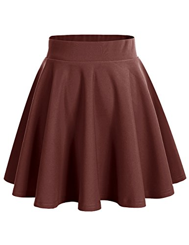 Dresstells Damen Basic Solide Vielseitige Dehnbar Informell Mini Glocken Rock Chocolate M